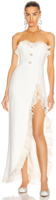 Alessandra Rich Strapless Dress With Ruffle Trim in White | FWRD