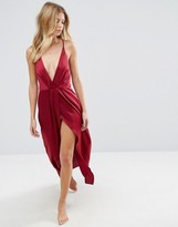 Asos Pleat Side Satin Maxi Slip