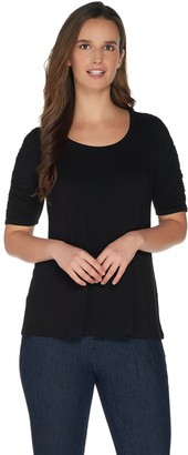 H by Halston Scoop Neck Elbow Sleeve Top with Ruching Detail