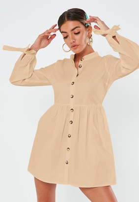 Missguided Stone Poplin Tie Cuff Shirt Dress