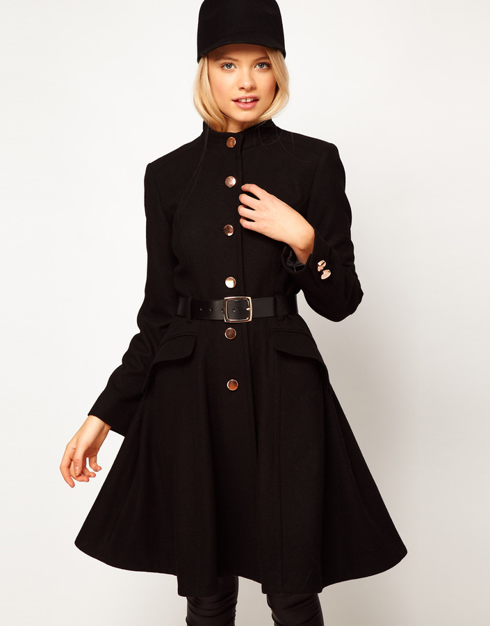 Asos Belted Button Front Coat With Full Skirt