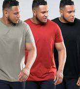 Asos PLUS 3 Pack Longline T-Shirt In Black/Red/Green SAVE