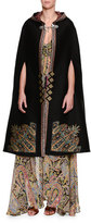 Etro Tangerin Embroidered Hooded Cape, Black/Gold