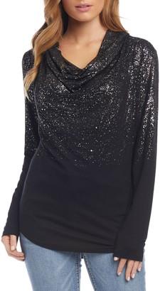 Karen Kane Ombre Shimmer Cowl Neck Top