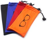 SunCristal (4 PCS) Drawstring Microfiber Soft Eyeglasses Pouch With Bead Lock
