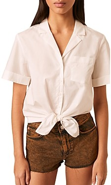 French Connection Rhodes Cotton Tie Front Shirt