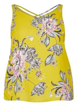 Dorothy Perkins Womens Dp Curve Yellow Floral Print Cross Back Camisole, Yellow