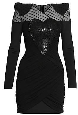 Balmain Women's Draped Heart Long-Sleeve Mini Dress