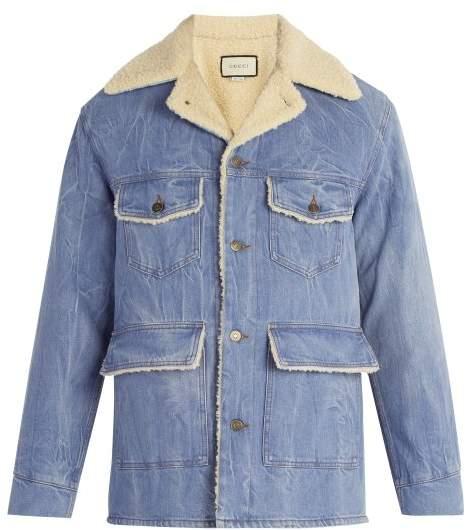 Gucci Faux Shearling Denim Jacket - Mens - Blue