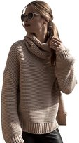 YOUJIA Women's Turtleneck Knitted Jumper Loose Long Sleeve Sweater Pullovers (, S)