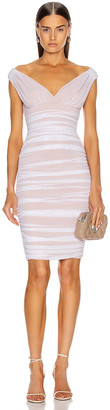 Norma Kamali for FWRD Tara Mini Dress in White Mesh & Nude | FWRD