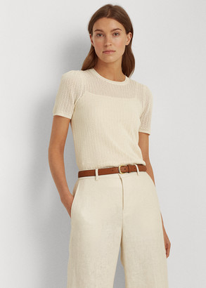 Ralph Lauren Pointelle Cotton-Blend Sweater