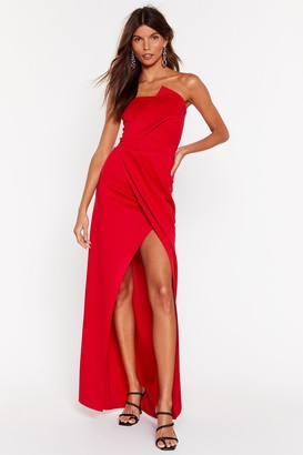 Nasty Gal Womens A Night To Remeber Strapless Maxi Dress - Red