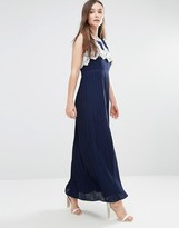 Darling Melissa Maxi Dress With Pleated Skirt And Crochet Top