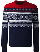 Classic Men's Lambswool Ski Fair Isle Crewneck Sweater-Blue