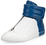 Maison Margiela Future Leather High-Top Sneaker, White/Blue