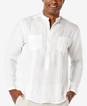 Cubavera Men's 100% Linen Popover Long-Sleeve Shirt