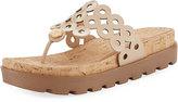 Eric Javits Donut Cutout Platform Sandal, Ecru