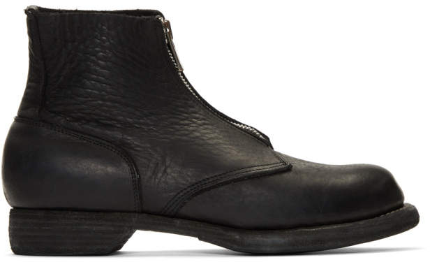 Guidi Black Soldato Front-Zip Boots