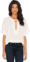 7 For All Mankind Short Sleeve Flutter Top