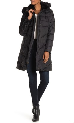 Larry Levine Faux Fur Trim Hooded Coat