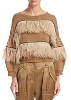 Brunello Cucinelli Feather Trimmed Crew Sweater