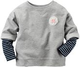 Carter's Baby Girl Striped Mock-Layered Long Sleeve French Terry Rosette Top