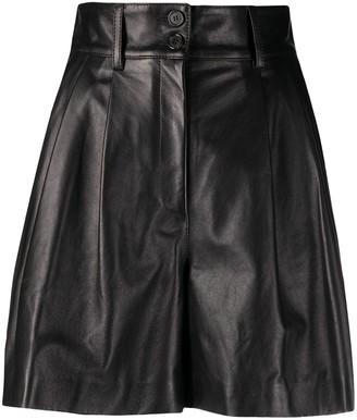 Dolce & Gabbana High-Waisted Leather Shorts