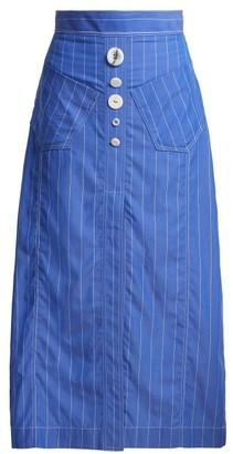Ellery Aggie Striped Cotton Midi Skirt - Womens - Light Blue