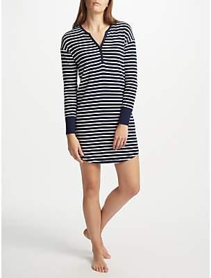 John Lewis & Partners Edie Striped Long Sleeve Nightdress, Navy/White