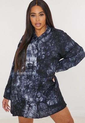 Missguided Size Navy Tie Dye Oversized Shirt Dress