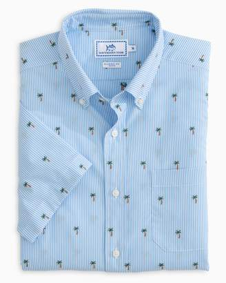 Southern Tide Palm Tree Short Sleeve Button Down Shirt