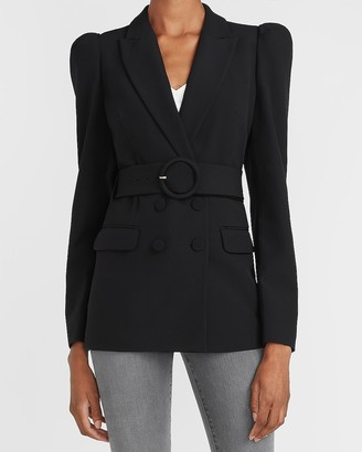 Express Supersoft Belted Puff Sleeve Double Breasted Blazer