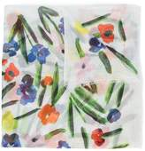 Oscar de la Renta painted flowers scarf