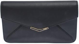 Fendi Black Leather 2 Jours Envelope Clutch