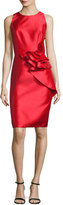 Carmen Marc Valvo Sleeveless Ruffle-Trim Satin Cocktail Dress, Royal