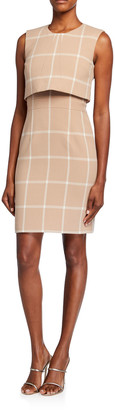 Toccin Overlay Check Sheath Dress