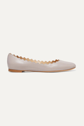 Chloé Lauren Scalloped Leather Ballet Flats - Stone
