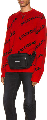Balenciaga Long Sleeve Crewneck in Red & Black | FWRD
