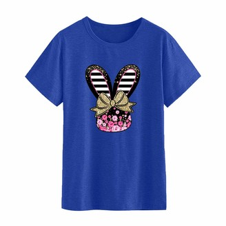 Benficial Women's Easter Printed Tunic Tops Women Short Sleeve Round Neck T Shirt Summer Casual Rabbit Pattern Pullover Tee Shirt Loose Tshirt Blouse Tops for Women Stylish Outfit for Easter Blue