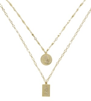 Ettika Medallions of Mine Layered Gold Plated Coin Necklace Set
