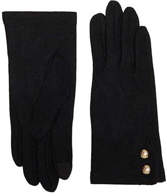Lauren Ralph Lauren Two-Button Cashmere Blend Touch Gloves (Black) Over-Mits Gloves