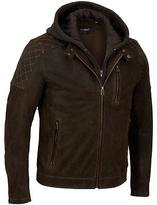 Black Rivet Mens Hooded Leather Cycle Jacket W/ Diamond Topstitching