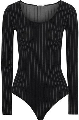 Wolford Muriel Pinstriped Stretch-jersey Thong Bodysuit