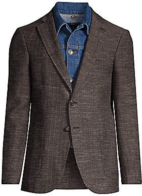 Eleventy Men's Denim Trucker Insert Herringbone Sportcoat