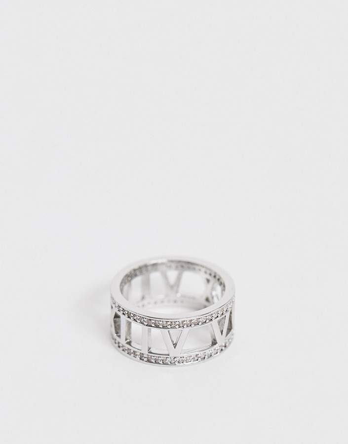 8c34112fa465b Design DESIGN cubic zirconia crystal band ring with numerals in silver tone