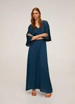 MANGO Elastic waist long dress petrol blue - 4 - Women