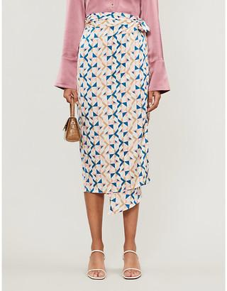 Selfridges Never Fully Dressed Jaspre geometric-print crepe midi skirt