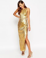 Asos RED CARPET Gold Shell Lace Up Side Maxi Dress