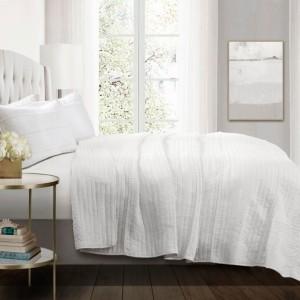 Lush Decor Pom Pom Stripe 3-Piece Full/Queen White Quilt Set